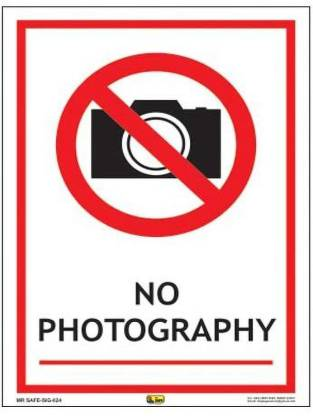 Mr. SAFE No Photography Sign In PVC Sticker A5 (6 Inch X 8 Inch) Emergency Sign
