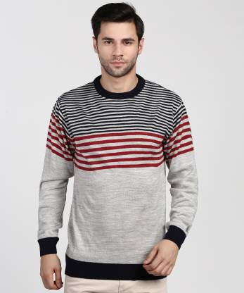 Duke Striped Crew Neck Casual Men Dark Blue, Grey Sweater