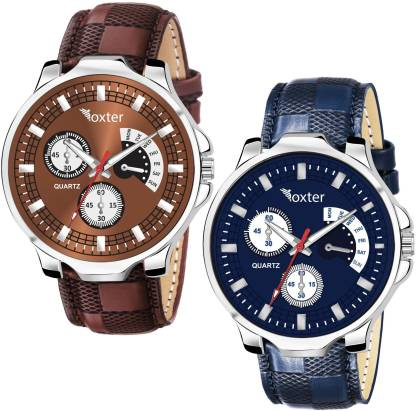 FOXTER Combo Pack of 2 Stylish Brown and Blue Analog Watch - For Men
