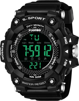 Piaoma 9092Black Digital Full Black Sports Fully Waterproof Digital Watch - For Men
