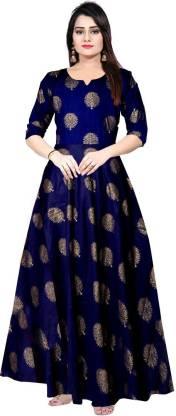 Mudrika Women Fit and Flare Dark Blue Dress