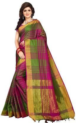 VJ FASHION Checkered Fashion Cotton Silk Saree