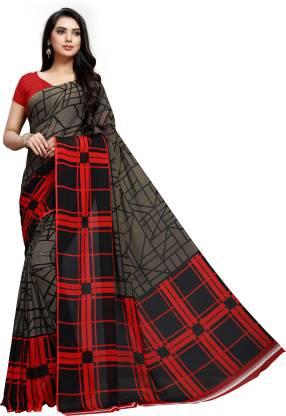 Vaamsi Printed, Checkered Daily Wear Georgette Saree