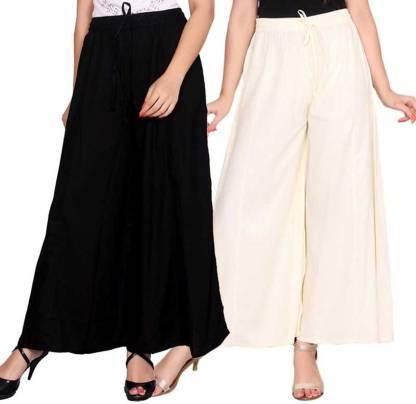 Adesa Regular Fit Women Black, Cream Trousers