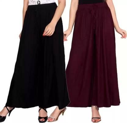 Adesa Regular Fit Women Purple, Black Trousers