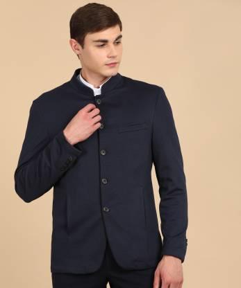 Self Design Bandhgala Casual Men Blazer(Dark Blue)