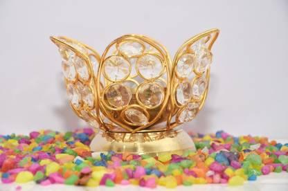 craftfry Grading and Designer Lotus Petals Shape Diya for Home / gift and pooja purpose (8cm*7cm*7cm), (gold). Brass Table Diya