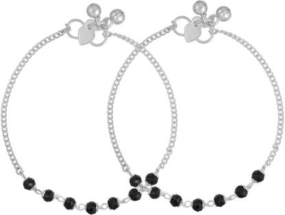morir Silver Plated Black Beads Charms Beaded Pajeb Payal Leg Bracelet Anklet Foot Jewelry for Women Girls Brass Anklet