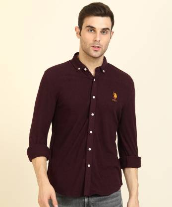 U.s.Polo Association Men Solid Casual Maroon Shirt