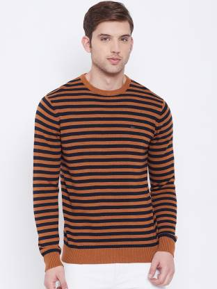 Striped Round Neck Casual Men Orange Sweater