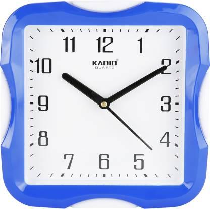 Kadio Analog 20 cm X 20 cm Wall Clock(Blue, With Glass)