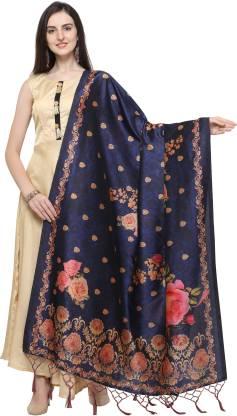 Poly Silk Printed Blue Women Dupatta