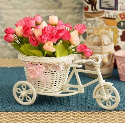 TIED RIBBONS Decorative Flower Vase Cycle Shape with Peonies Bunches for Living Room Bedroom Drawing Room Table Home Decoration Multicolor Peony Artificial Flower  with Pot