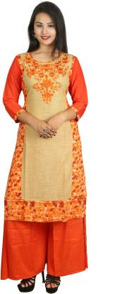 Women Kurta and Palazzo Set Cotton Blend