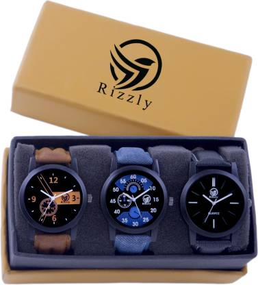 Rizzly Gents Exclusive 3 Designer Combo (Casual+PartyWear+Formal) Designer Stylish New For Boys And Mens Analog Watch - For Boys