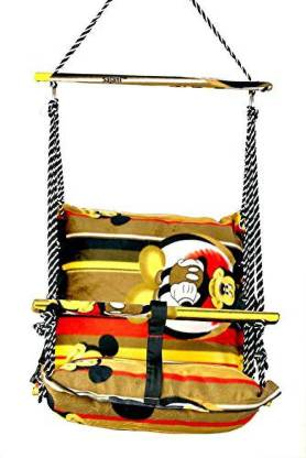 Vruta Cotton Baby Swing for Kids Baby's Children Folding and Washable 1-7 Years with Safety Belt Home Garden Jhula for Babies for Indoor Outdoor Bouncer