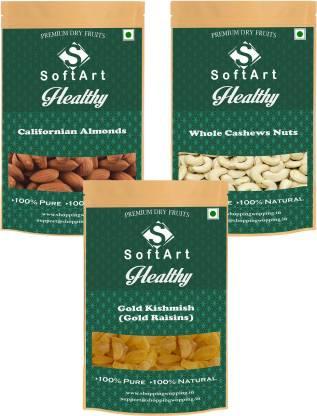 Soft Art Californian Almonds , Whole Cashews Nuts & Gold Kishmish (Gold Raisins) (250g Each) Vaccum Pack Almonds, Cashews, Raisins
