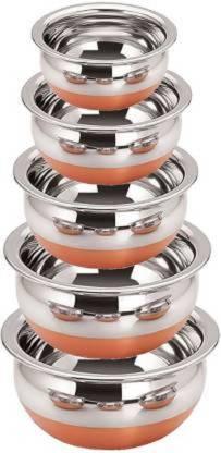 eppyz Copper Bottom Handi Pot 5 Piece Set/Steel Handi Set 5 Piece Set Handi Handi 2.1 L, 1.6 L, 1.1 L, 0.8 L, 0.5 L