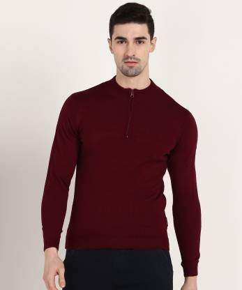 Van Heusen Sport Solid Crew Neck Casual Men Maroon Sweater