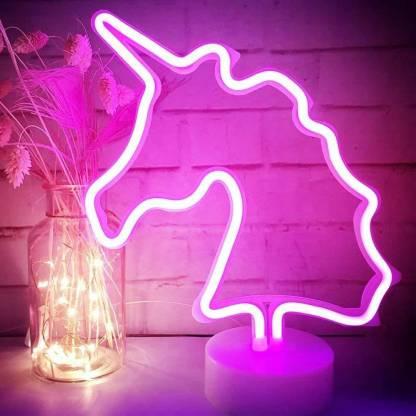 Xergy Pink Unicorn Led Neon Light With, Pink Kids Lamp