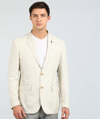 Self Design Single Breasted Casual Men Full Sleeve Blazer  (Beige)