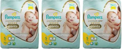 Pampers PREMIUM BABY PANTS, SIZE SMALL , 70 PCS. PACK, COMBO OF 3 PACKS - S
