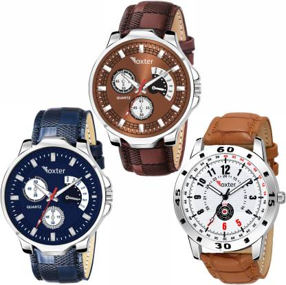 FOXTER Combo Pack of 3 Chronoghraph Design Brown, Blue and White Dial Analog Watch - For Boys
