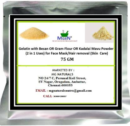 MGBN Gelatin with Besan OR Gram Flour OR Kadalai Mavu Powder (2 in 1 Uses) for Face Mask/Hair removal (Skin Care) 75 GM