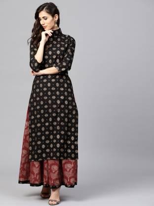 Jaipuri Bunaai Women Kurta and Skirt Set