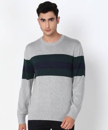 GAP Striped Round Neck Casual Men Dark Green, Grey Sweater