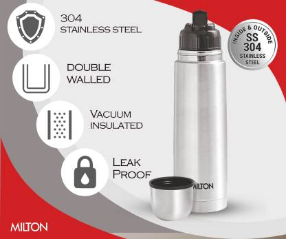 MILTON THERMOSTEEL 1000 FLIP LID 1000 ml Flask   Pack of 1, Silver, Steel, Copper