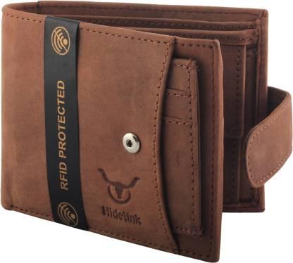 Hidelink Men Casual Brown Genuine Leather Wallet