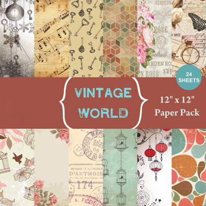 Way Beyond Vintage Themed Printed Papers/DIY Scrapbook Art & Craft Greeting Card Material