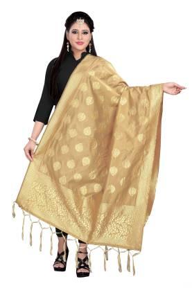 Ecolors Fab Cotton Blend, Art Silk Woven Women Dupatta