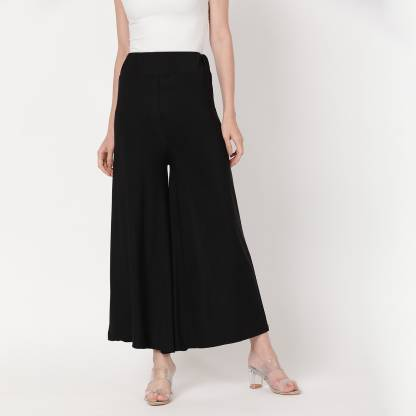 V2 Retail Limited Regular Fit Women Black Trousers