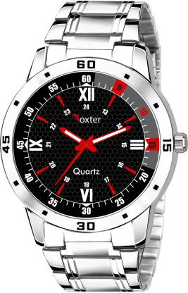 FOXTER Sports Design Adjustable Length Black Dial Stainless Steel Chain Analog Watch - For Men