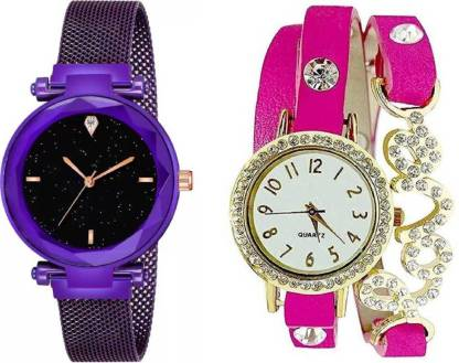 Luxury Mesh Magnet Buckle Starry sky Quartz Watches For girls Fashion Mysterious Purple Lady Love Pink METAL & LEATHER BELT NEW ARRIVAL FAST SELLING TRACK DESIGNER WATCH FOR FESTIVAL_PARTY_PROFESSIONAL_VALENTINE_BIRTHDAY GIFT SPECIAL COMBO WATCH FOR MEN_WOMEN Analog Watch - For Women