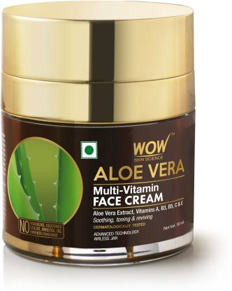WOW SKIN SCIENCE Aloe Vera Multi-Vitamin Face Cream - Light Quick Absorbing - For Normal to Oily Skin - No Parabens, Silicones, Color, Mineral Oil & Synthetic Fragrance - 50mL