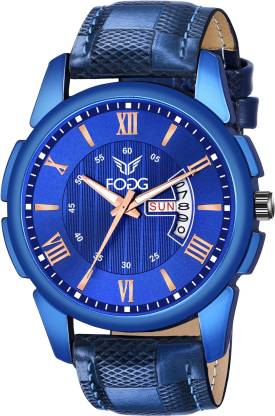 Fogg 1200-BL Blue Day and Date Analog Watch - For Men