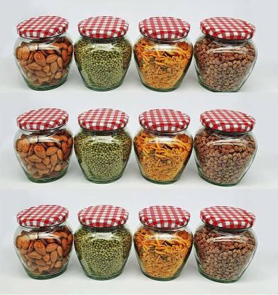 Korona Matki Glass Jar With Airtight Metal Lid Kitchen Storage Container Red Checks 500 Ml Glass Spice Container Price In India Buy Korona Matki Glass Jar With Airtight Metal Lid