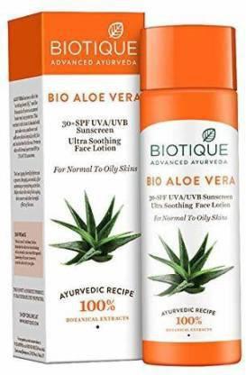 BIOTIQUE bio aloe vera 30+ spf uva ultra soothing face lotion 120ml - - SPF 30 PA+