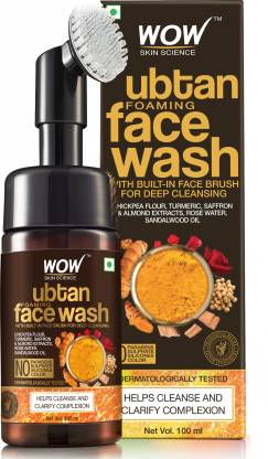 WOW SKIN SCIENCE Ubtan Foaming  with Built-In Face Brush for deep cleansing - No Parabens, Sulphate, Silicones & Color - 100mL Face Wash