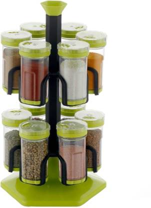 Yellow Leaf Products 12 Jar Multipurpose Revolving Plastic Spice Rack, 12 Piece Condiment Set 125 ml Round Shap Spice Rack, Spice Rack Container 1 Piece Spice Set