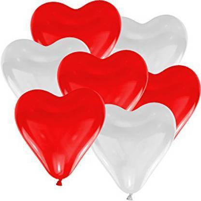 atul gift& toys Solid atul heart ballons 25 red 25 white heart shape Balloon