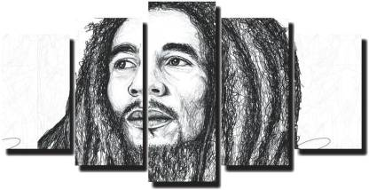 Mad Masters Fabric Bob Marley Painting for Living Room (173 x 84 cm, Pack of 5) Oil 33 inch x 68 inch Painting