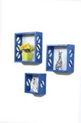 Unity Handicrafts This set of three cube wall shelves With a chic and contemporary styling, these three wall shelves from Home Sparkle are definite to stand out on any wall. Made from high quality engineered wood, the shelves can be used to store frames, vases or any other decorative items. MDF (Medium Density Fiber) Wall Shelf