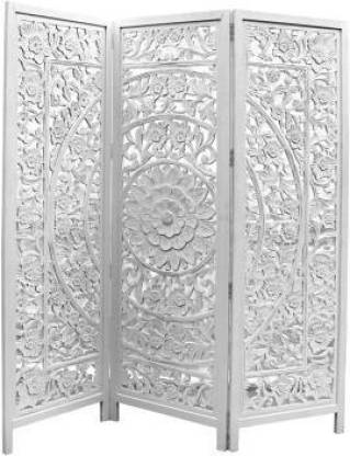 Artesia The Lotus Antique 3 Panel Room Partition (White) Solid Wood Decorative Screen Partition
