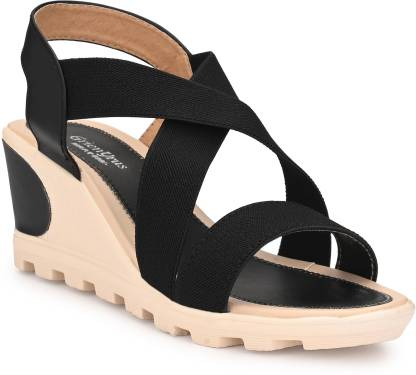 GrienYrus Women Black Wedges
