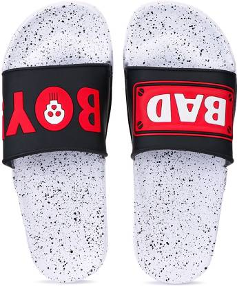 Totu Mens Casual Comfort Stylish Trending Slider with black red bad boy printed upper with EVA White sole (Pack of 1) Size 10 Flip Flops