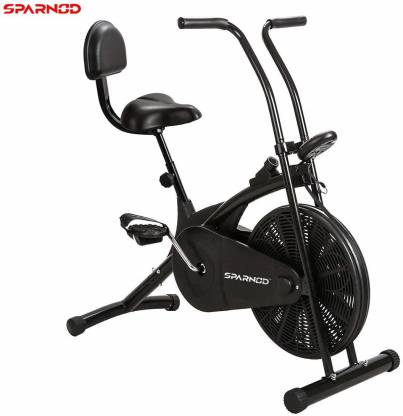 Sparnod Fitness SAB-03 Air Bike Exercise Cycle for Home Gym (with back rest) Upright Stationary Exercise Bike